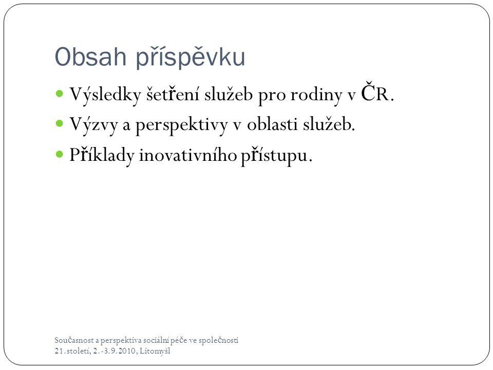 Obsah příspěvku Výsledky šetření služeb pro rodiny v ČR.