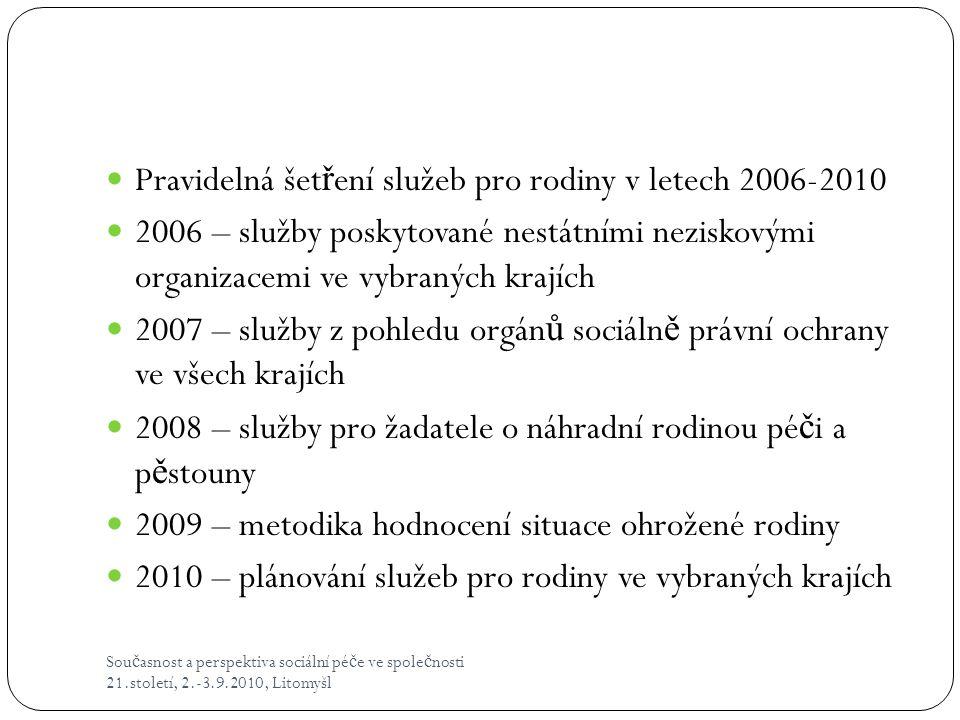 Pravidelná šetření služeb pro rodiny v letech 2006-2010