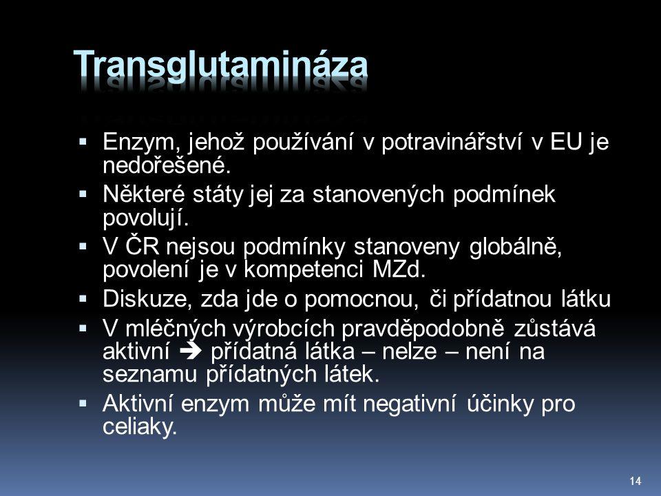 Transglutamináza Enzym, jehož používání v potravinářství v EU je nedořešené. Některé státy jej za stanovených podmínek povolují.