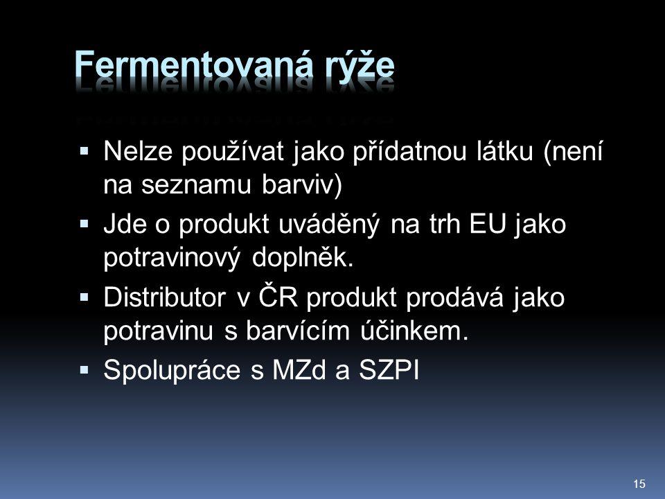 Fermentovaná rýže Nelze používat jako přídatnou látku (není na seznamu barviv) Jde o produkt uváděný na trh EU jako potravinový doplněk.