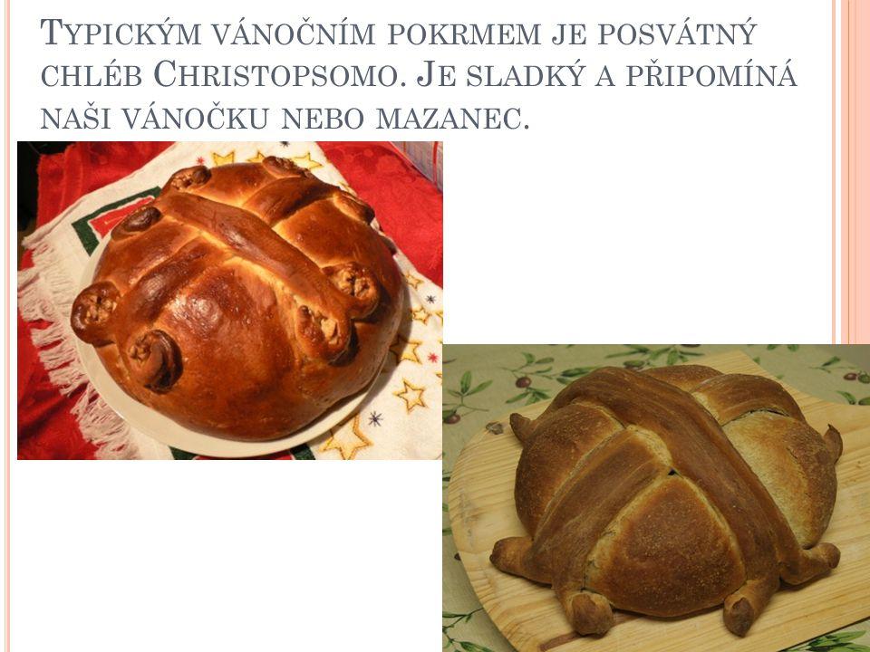 Typickým vánočním pokrmem je posvátný chléb Christopsomo