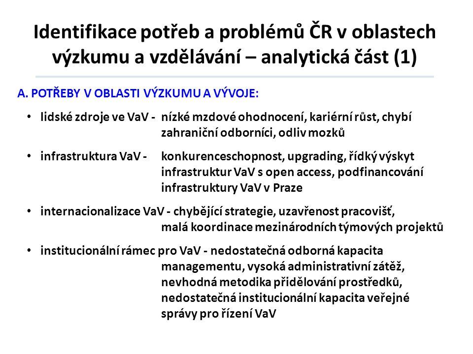 Identifikace potřeb a problémů ČR v oblastech výzkumu a vzdělávání – analytická část (1)