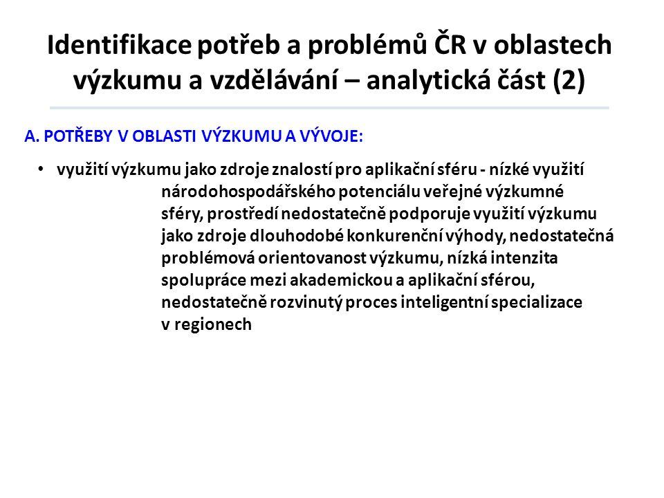 Identifikace potřeb a problémů ČR v oblastech výzkumu a vzdělávání – analytická část (2)