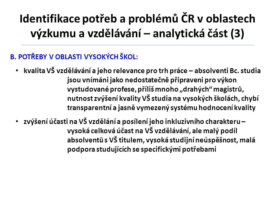 Identifikace potřeb a problémů ČR v oblastech výzkumu a vzdělávání – analytická část (3)
