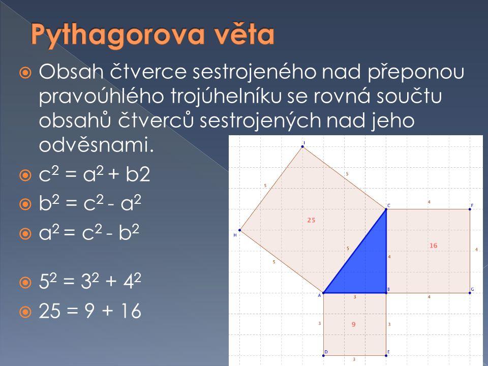 Pythagorova věta Obsah čtverce sestrojeného nad přeponou pravoúhlého trojúhelníku se rovná součtu obsahů čtverců sestrojených nad jeho odvěsnami.