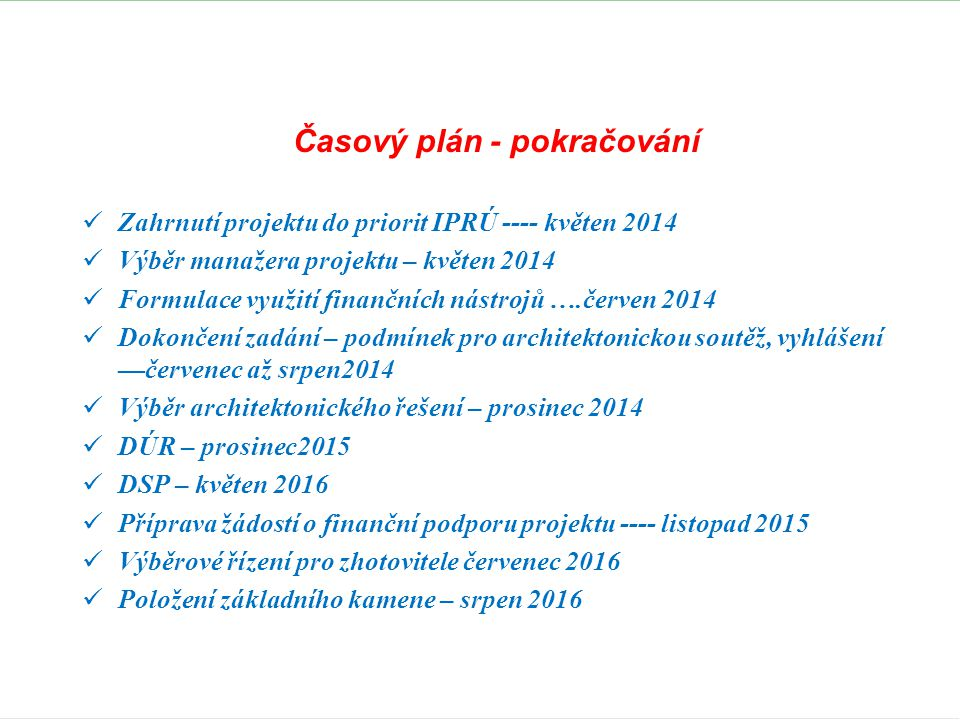 Časový plán - pokračování
