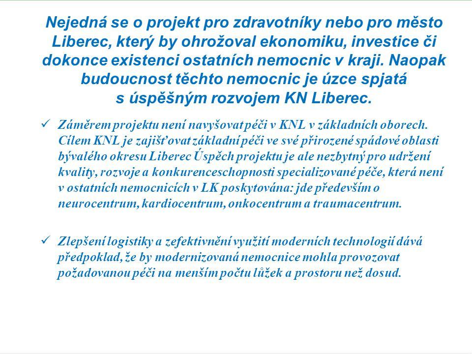 Nejedná se o projekt pro zdravotníky nebo pro město Liberec, který by ohrožoval ekonomiku, investice či dokonce existenci ostatních nemocnic v kraji. Naopak budoucnost těchto nemocnic je úzce spjatá s úspěšným rozvojem KN Liberec.