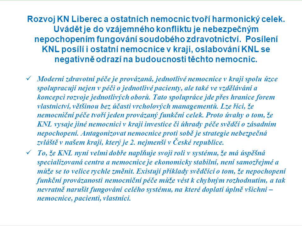 Rozvoj KN Liberec a ostatních nemocnic tvoří harmonický celek