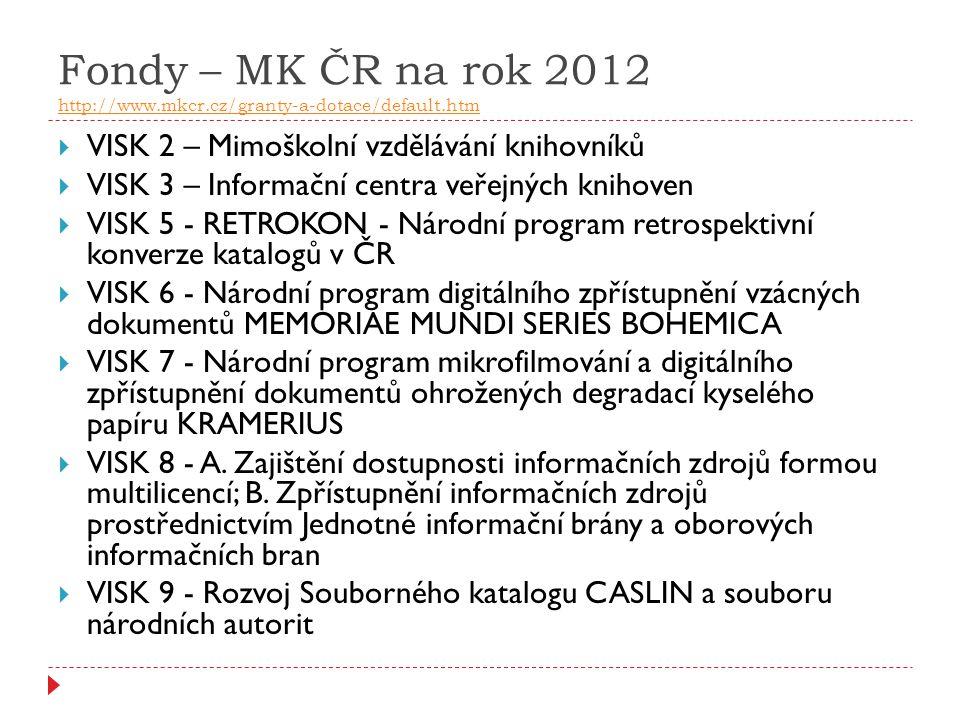 Fondy – MK ČR na rok 2012 http://www. mkcr. cz/granty-a-dotace/default