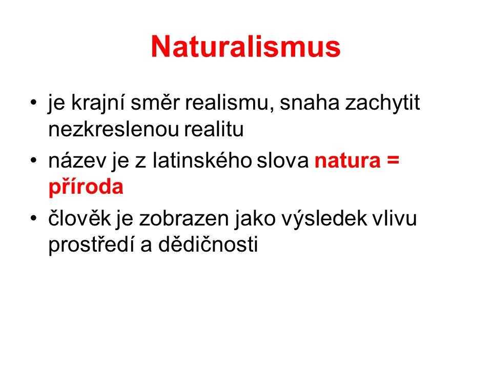 Naturalismus je krajní směr realismu, snaha zachytit nezkreslenou realitu. název je z latinského slova natura = příroda.