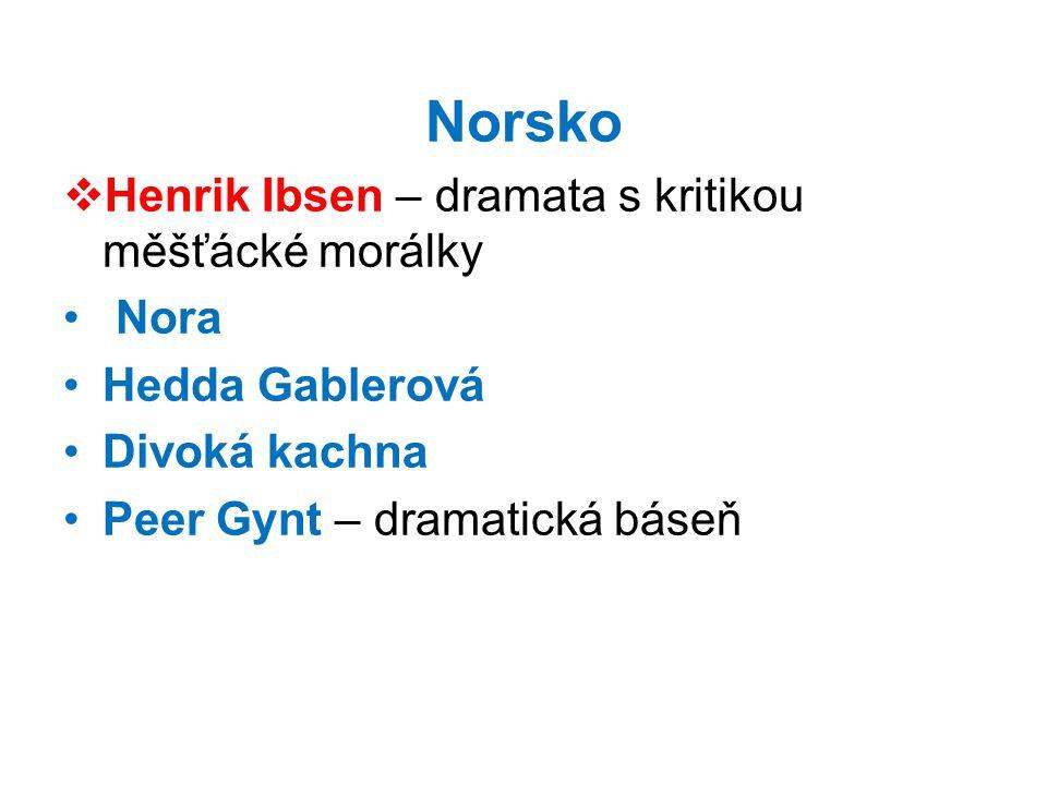 Norsko Henrik Ibsen – dramata s kritikou měšťácké morálky Nora
