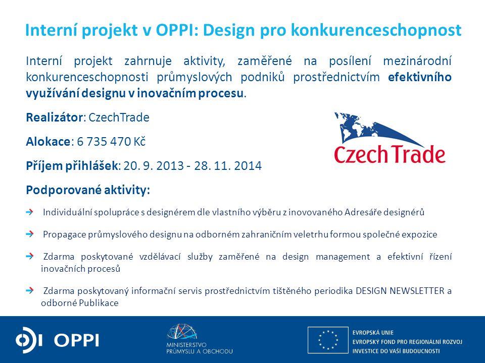 Interní projekt v OPPI: Design pro konkurenceschopnost
