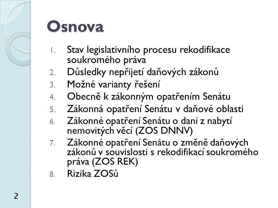 Osnova Stav legislativního procesu rekodifikace soukromého práva