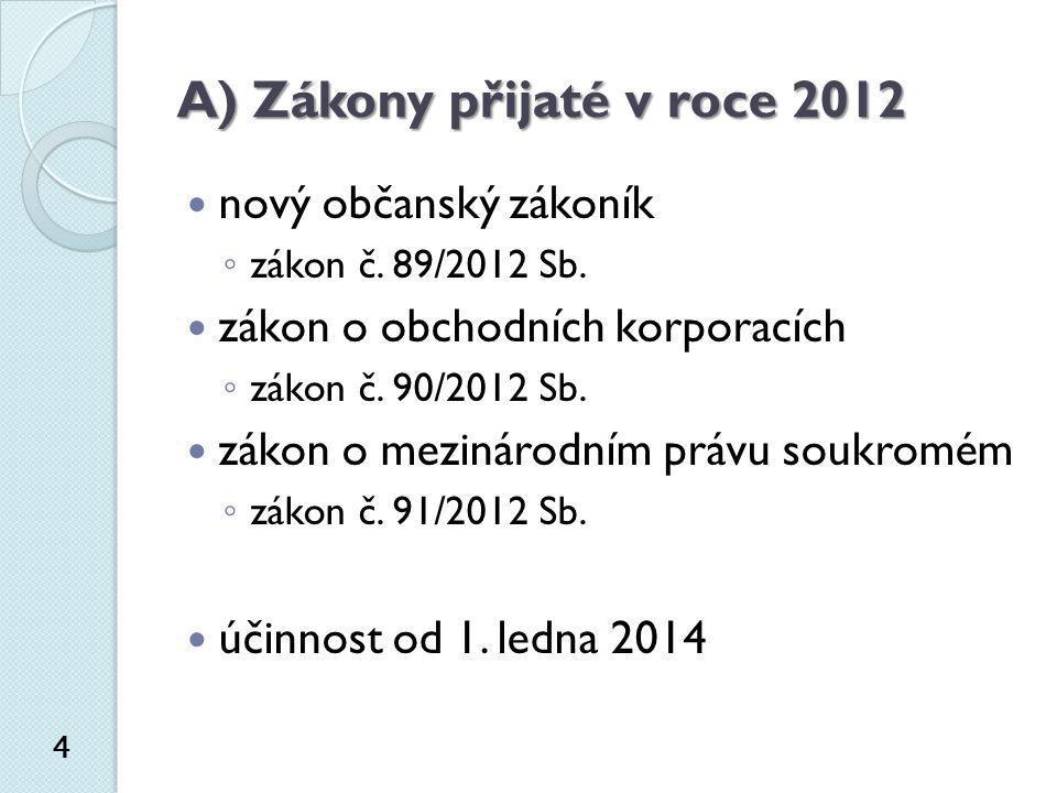 A) Zákony přijaté v roce 2012