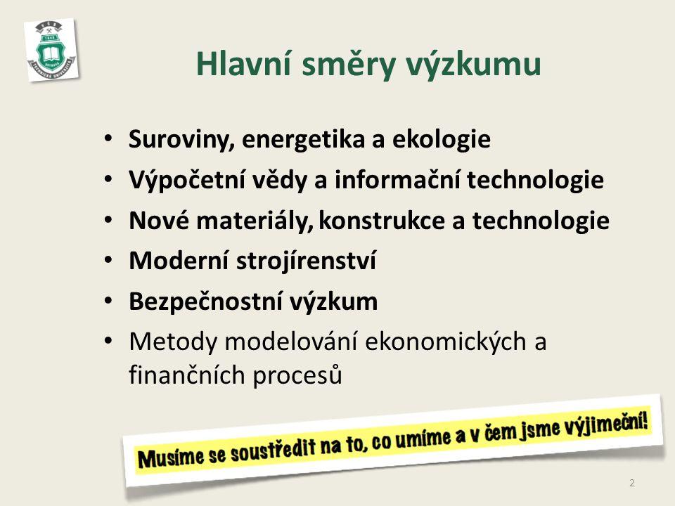 Hlavní směry výzkumu Suroviny, energetika a ekologie