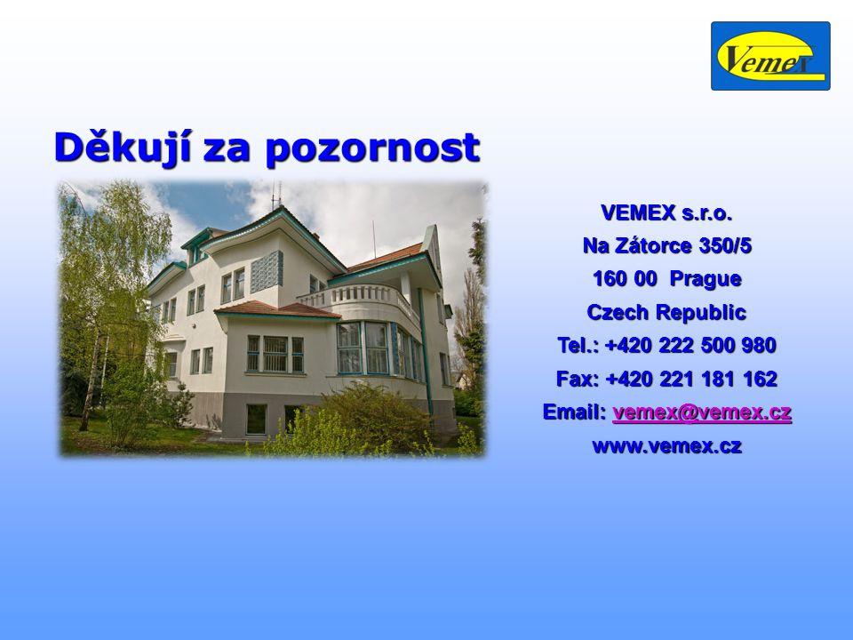 Děkují za pozornost VEMEX s.r.o. Na Zátorce 350/5 160 00 Prague