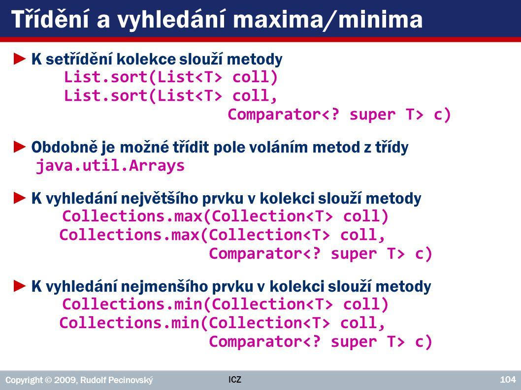 Třídění a vyhledání maxima/minima