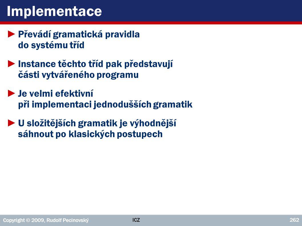 Implementace Převádí gramatická pravidla do systému tříd