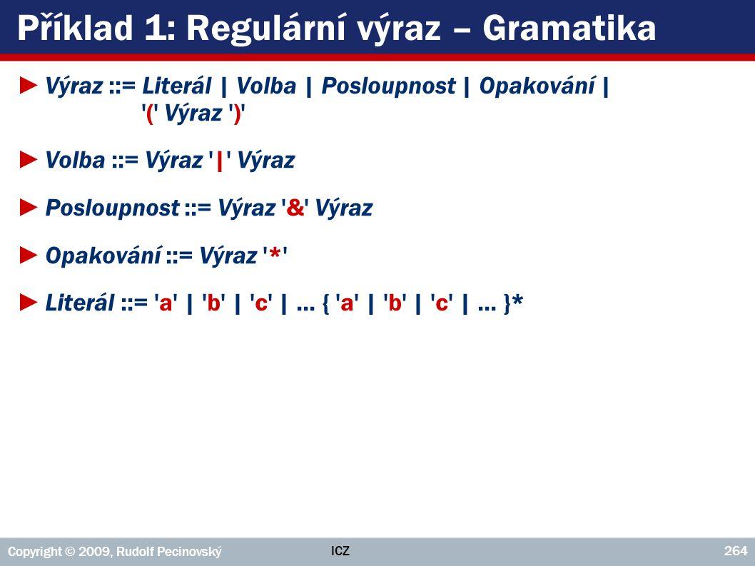 Příklad 1: Regulární výraz – Gramatika