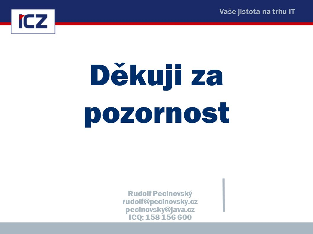 Děkuji za pozornost Rudolf Pecinovský rudolf@pecinovsky.cz pecinovsky@java.cz ICQ: 158 156 600