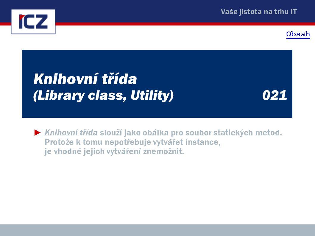 Knihovní třída (Library class, Utility) 021