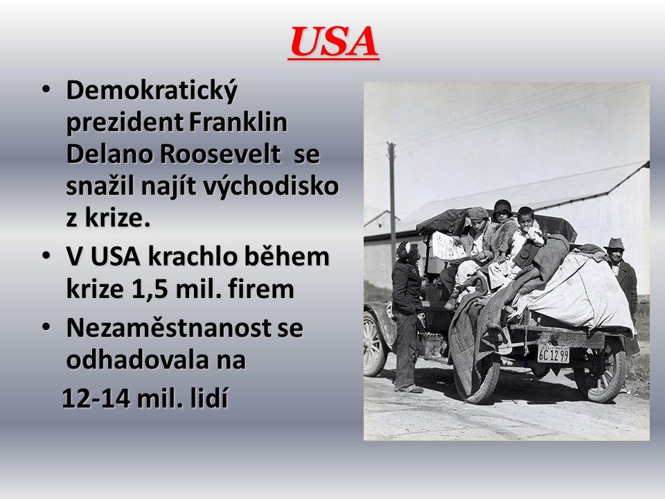 USA Demokratický prezident Franklin Delano Roosevelt se snažil najít východisko z krize. V USA krachlo během krize 1,5 mil. firem.