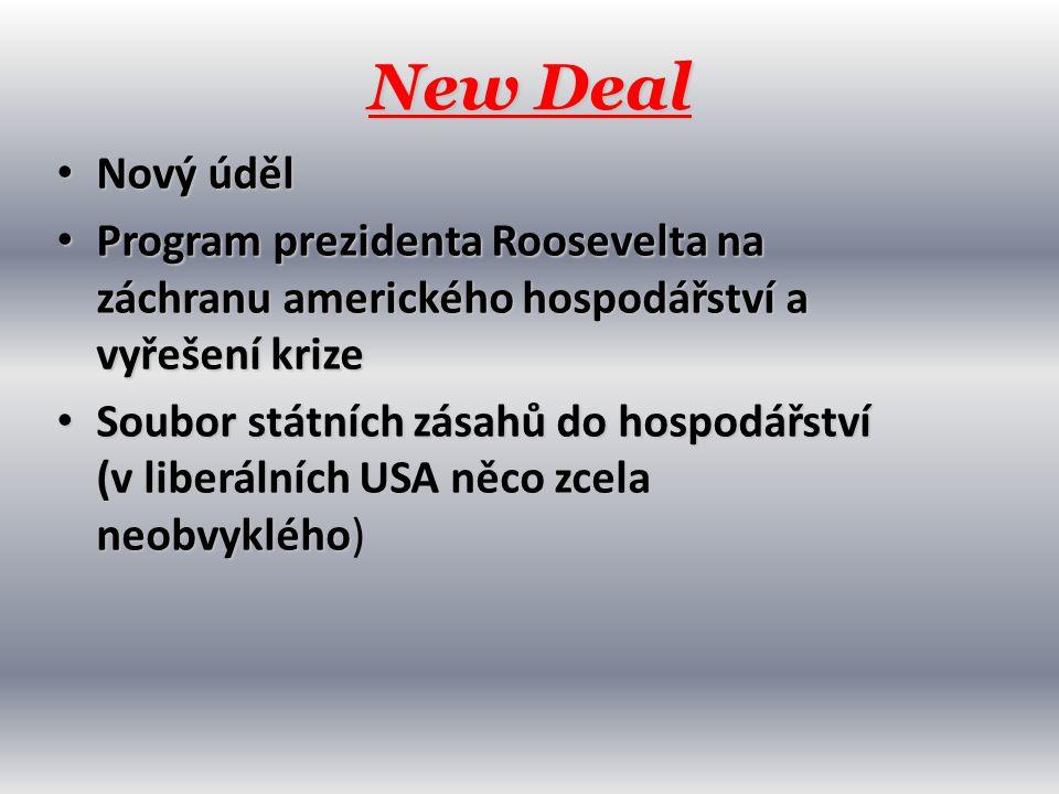 New Deal Nový úděl. Program prezidenta Roosevelta na záchranu amerického hospodářství a vyřešení krize.