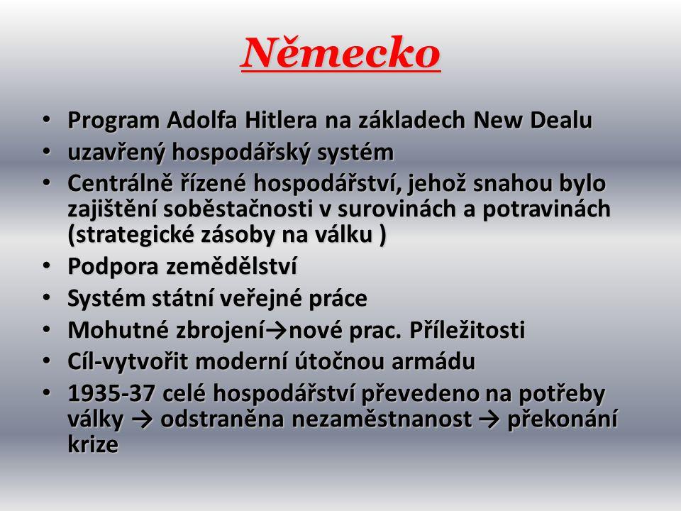 Německo Program Adolfa Hitlera na základech New Dealu