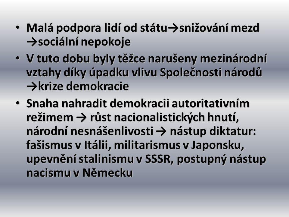 Malá podpora lidí od státu→snižování mezd →sociální nepokoje