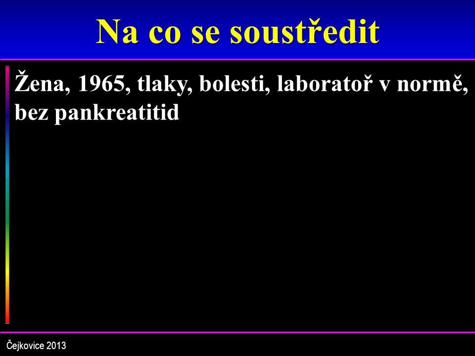 Na co se soustředit Žena, 1965, tlaky, bolesti, laboratoř v normě, bez pankreatitid Čejkovice 2013