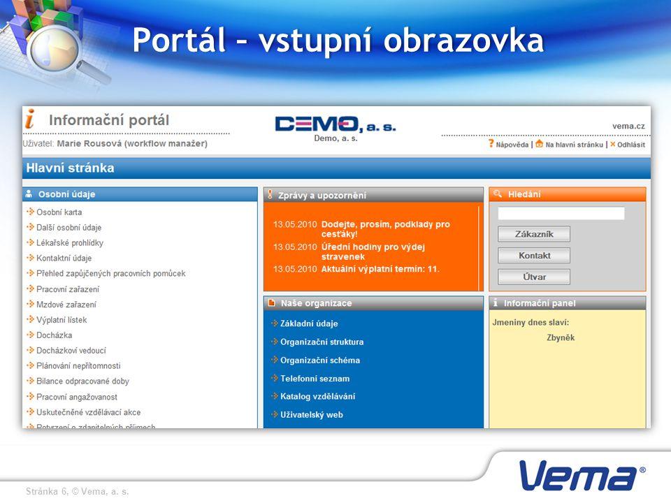Portál – vstupní obrazovka