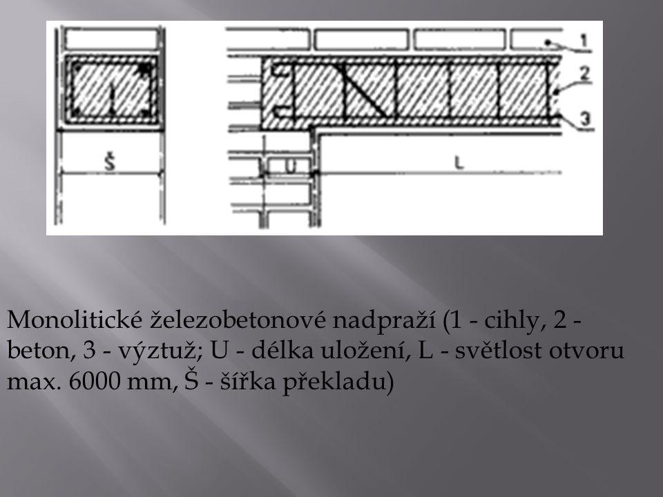 Monolitické železobetonové nadpraží (1 - cihly, 2 - beton, 3 - výztuž; U - délka uložení, L - světlost otvoru max.