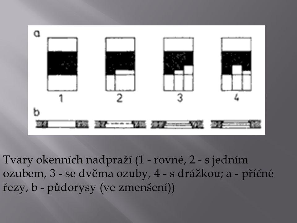 Tvary okenních nadpraží (1 - rovné, 2 - s jedním ozubem, 3 - se dvěma ozuby, 4 - s drážkou; a - příčné řezy, b - půdorysy (ve zmenšení))