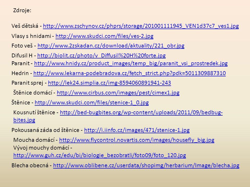 Zdroje: Veš dětská - http://www.zschynov.cz/phprs/storage/201001111945_VEN1d37c7_ves1.jpg. Vlasy s hnidami - http://www.skudci.com/files/ves-2.jpg.
