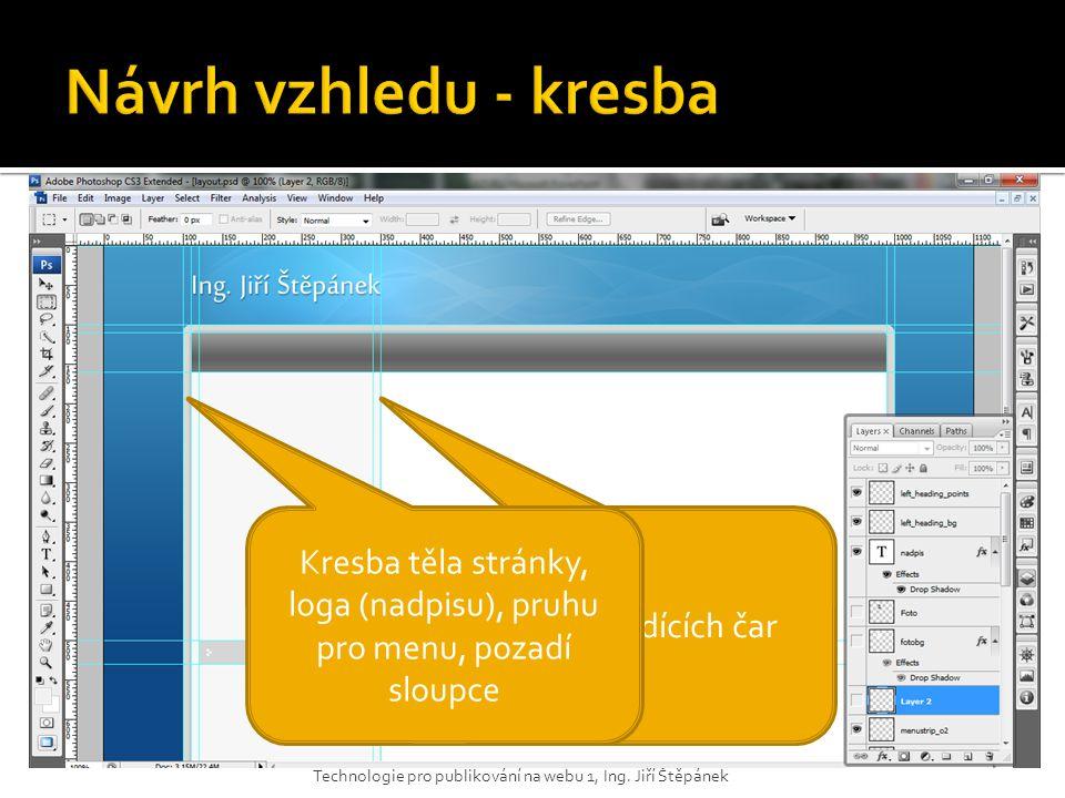 Kresba těla stránky, loga (nadpisu), pruhu pro menu, pozadí sloupce