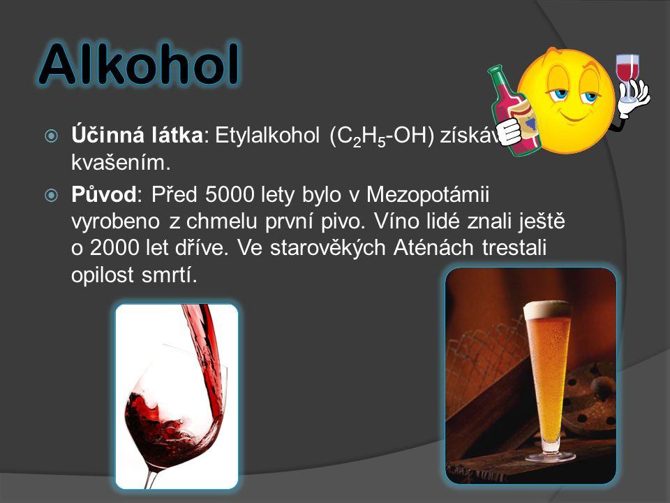 Alkohol Účinná látka: Etylalkohol (C2H5-OH) získáván kvašením.