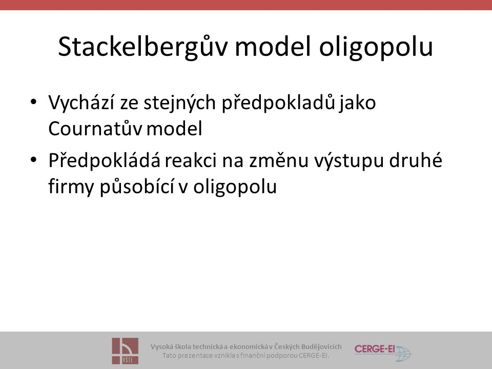 Stackelbergův model oligopolu