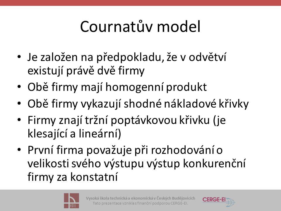 Cournatův model Je založen na předpokladu, že v odvětví existují právě dvě firmy. Obě firmy mají homogenní produkt.