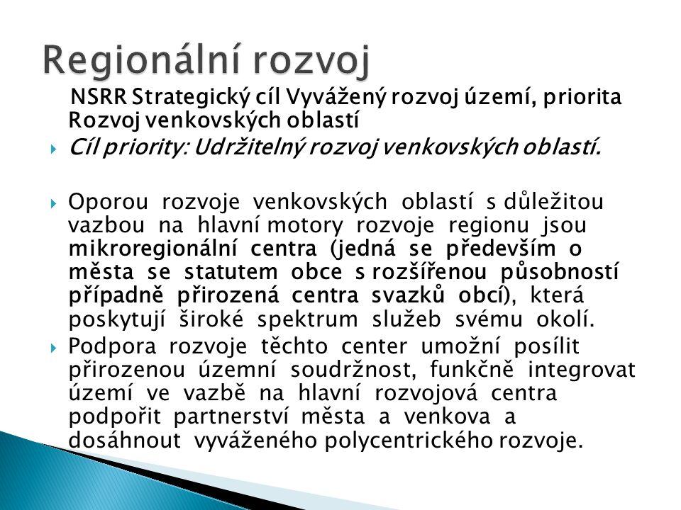 Regionální rozvoj NSRR Strategický cíl Vyvážený rozvoj území, priorita Rozvoj venkovských oblastí.