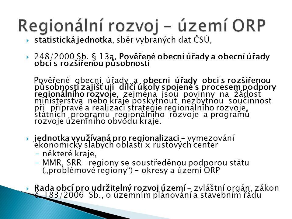 Regionální rozvoj – území ORP
