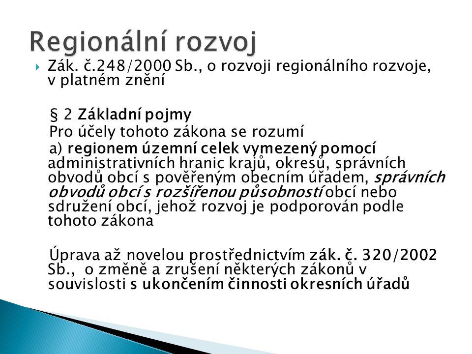 Regionální rozvoj Zák. č.248/2000 Sb., o rozvoji regionálního rozvoje, v platném znění. § 2 Základní pojmy.