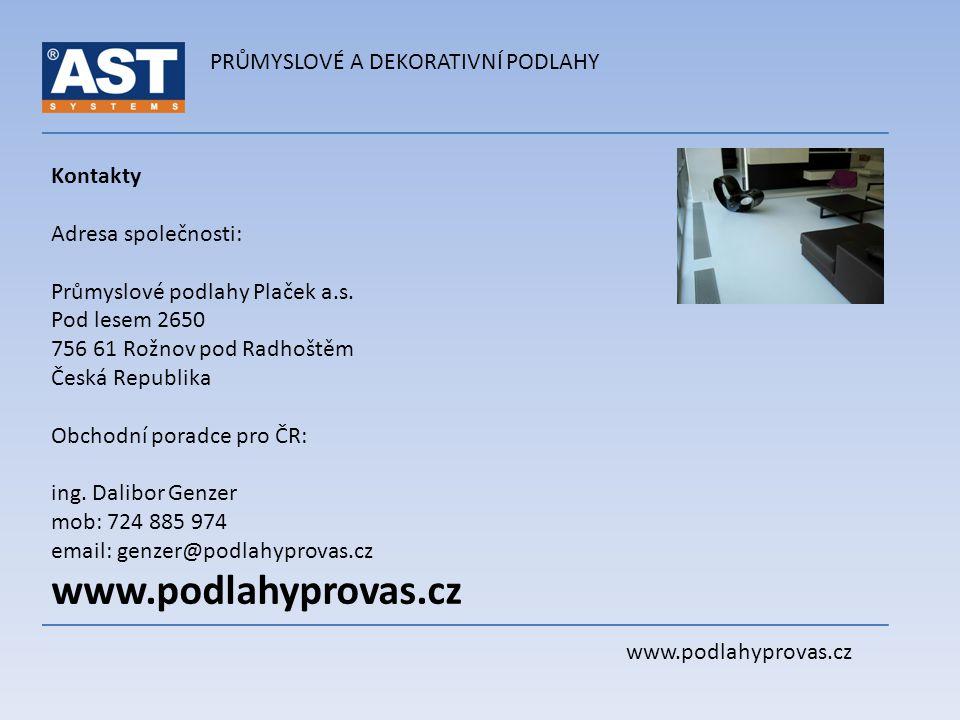 www.podlahyprovas.cz PRŮMYSLOVÉ A DEKORATIVNÍ PODLAHY Kontakty