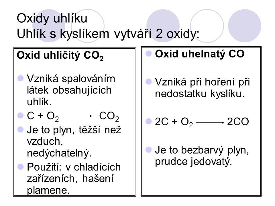 Oxidy uhlíku Uhlík s kyslíkem vytváří 2 oxidy: