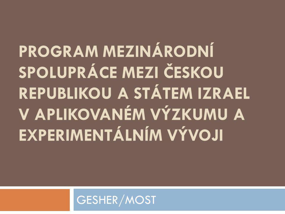 Program mezinárodní spolupráce mezi Českou republikou a Státem Izrael v aplikovaném výzkumu a experimentálním vývoji