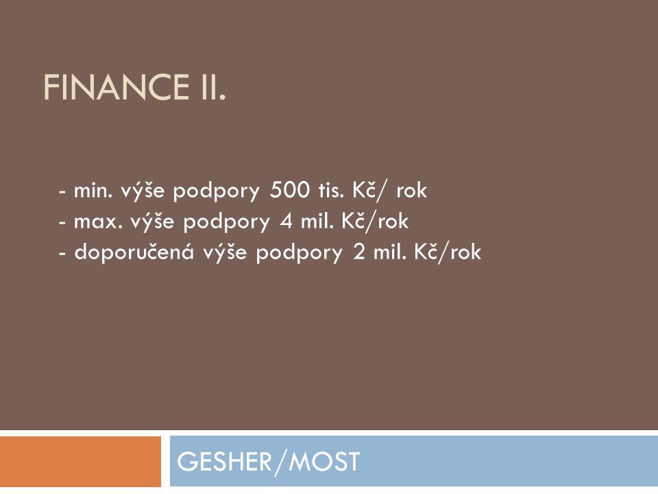 Finance II. GESHER/MOST - min. výše podpory 500 tis. Kč/ rok