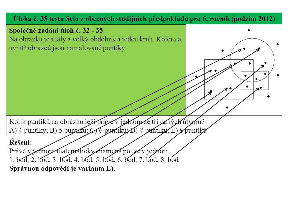 Úloha č. 35 testu Scio z obecných studijních předpokladů pro 6