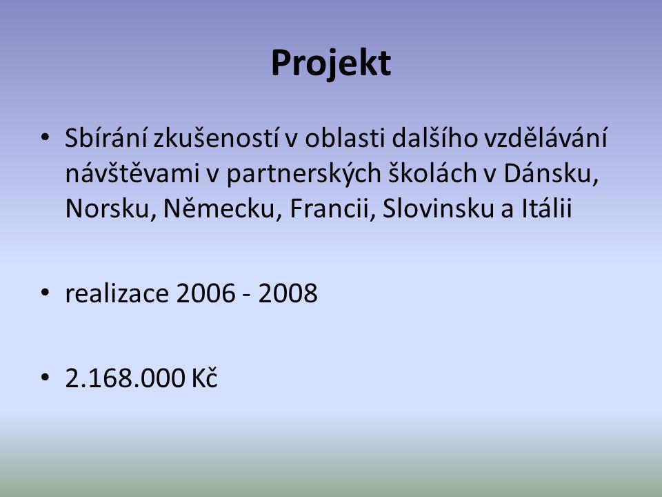 Projekt Sbírání zkušeností v oblasti dalšího vzdělávání návštěvami v partnerských školách v Dánsku, Norsku, Německu, Francii, Slovinsku a Itálii.