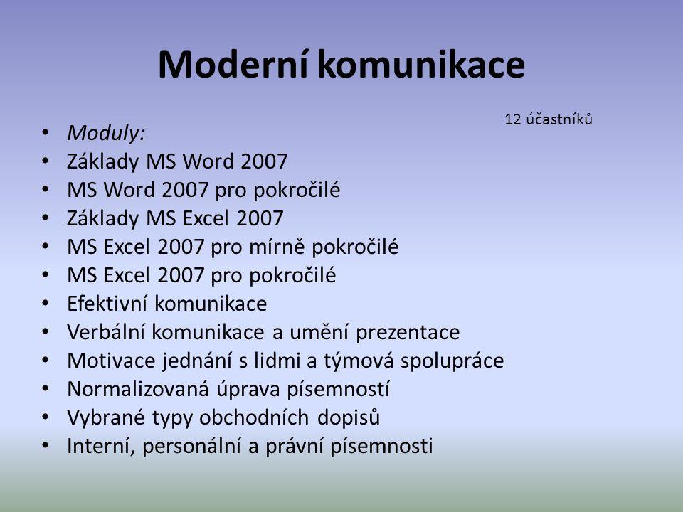 Moderní komunikace Moduly: Základy MS Word 2007