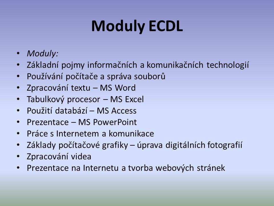 Moduly ECDL Moduly: Základní pojmy informačních a komunikačních technologií. Používání počítače a správa souborů.