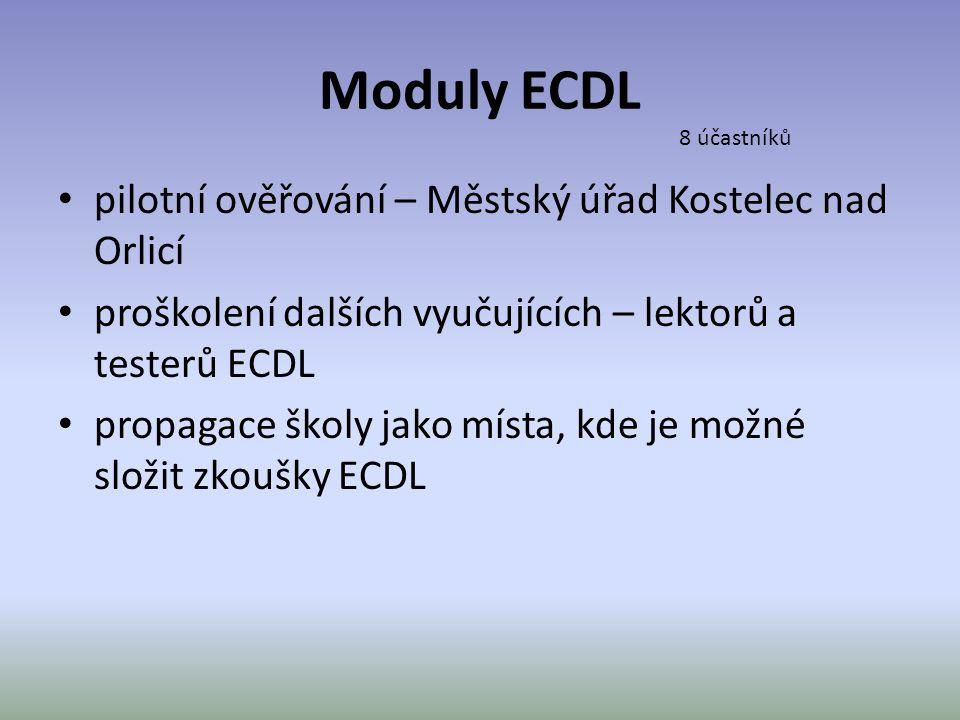 Moduly ECDL pilotní ověřování – Městský úřad Kostelec nad Orlicí
